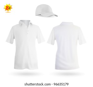 Set of white male polo and a baseball cap template.