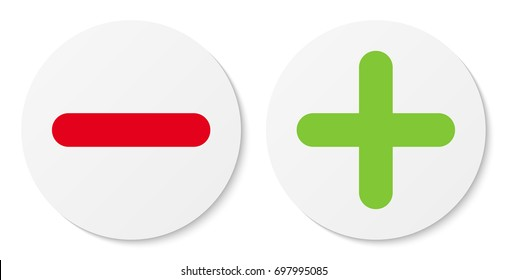 Set of white minus & plus signs icons, flat round buttons. Vector EPS10