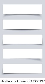 Set of White mock up Paper Banners with shadows on gray background. Collection material design mockup banners vector illustration.  Mock-up banners.