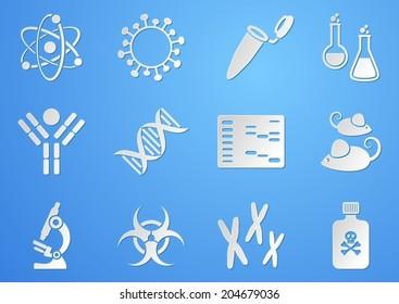 Set of white modern molecular biology science icons