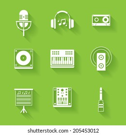 Set of white music and sound icons. Vector music stuff in flat style with shadows.