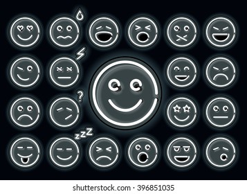 Set of white neon glowing emoticons, isolated on black background.