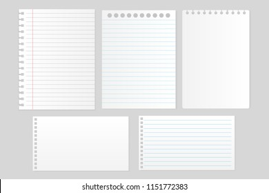 Set of white note paper and notebook sheet on gray background