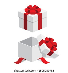 Set of white open / closed gift box present with red ribbon bow flat isometric illustration design, vector icon for interface app icon ui ux button web isolated on white background