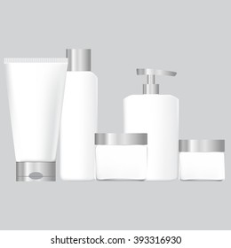 set of white packaging for cosmetics