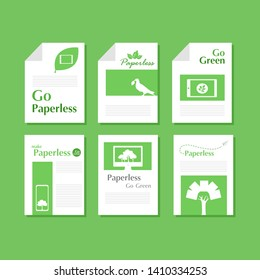 Set of white paper document of green paperless go green logo concept, leaf, tree, tablet, phone, computer, Paper rocket fly ,paperless idea conceptual design go green, save the planet, flat vector.