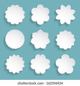 set of white paper floral frames