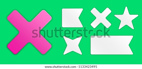 Set White Paper Stickers Templates Transparent Stock Vector