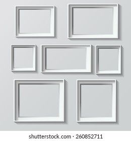 Set of white photo frames vector illustration image isolated on grey
