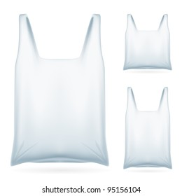 Set of White Plastic Bag on White Background for design