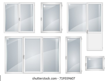 A set of white plastic windows. Vector graphics. Transparency of glass