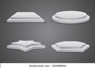 Set of white podiums of different shapes, vector pedestal template