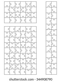 Set of white puzzles, vector