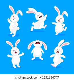 Set of  white rabbits in different pose and expression. Happy Easter day, cartoon character design. Vector illustration isolated on blue background.