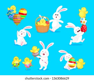 Set of  white rabbits in different pose and expression with little chicks. Happy Easter day concept, cartoon character design. Vector illustration isolated on blue background.
