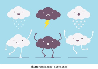 Set of white rainy, snowy, dark lightning storm, happy, sad clouds, on a light blue sky, jumping and waving, human feelings and emotions, moody behaviour, icons for weather forecast