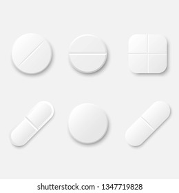 Set of white realistic medical pills. Round and oval tablets, painkillers, antibiotics, vitamins, aspirin. Medicine and drugs. Template design for medical and healthcare concept. Vector illustration