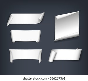 Set of white, realistic, paper ribbons. Vector illustration.