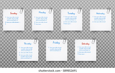 Set of White realistic Paper Sticker Note Memo vector with shadow, clip, text,  ready for your message isolated on transparent background.
