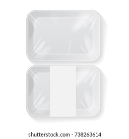 Set of White Rectangle Blank Styrofoam Plastic Food Tray Container. Vector Mock Up Template for your design