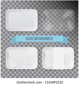 Set of White Rectangle Styrofoam Plastic Food Tray Container. Vector Mock Up Template for your design