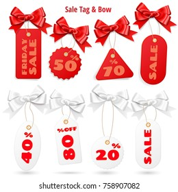 Set of white and red sale price tags and lables with realistic bows isolated on white background
