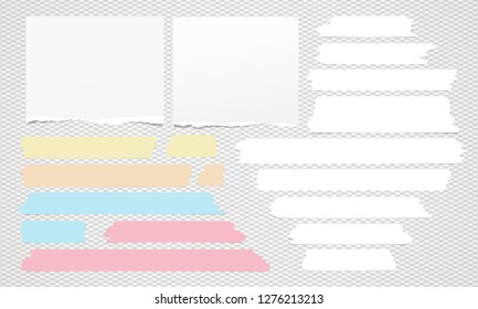 Set of white ripped note, notebook paper, torn sticky tape on grey background. Vector illustration
