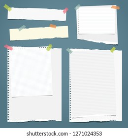 Set of white ripped notebook paper, torn note paper strips stuck with colorful sticky tape on blue background. Vector illustration