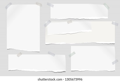 Set of white ripped notebook paper, torn note paper strips stuck with sticky tape on lined grey background. Vector illustration