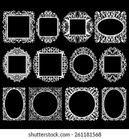 set of white round and square vintage frames, design elements on black background