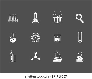 Set of white science and research icons on a grey background depicting laboratory glassware  flasks test tubes   magnifying glass  atom  crystal   thermometer and retort stand  vector illustration