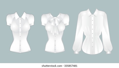Set of white shirt with short and long sleeves isolated on color background. Elegant blouse with a bow