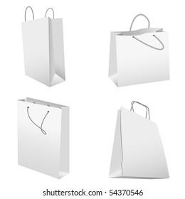 set of white shopping bags. vector illustration
