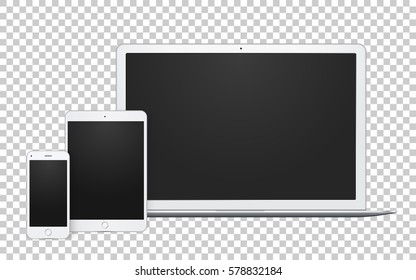 Set of white silver gadgets with blank screen to demonstrate your design, we, app, mobile. Vector laptop, tablet and phone.