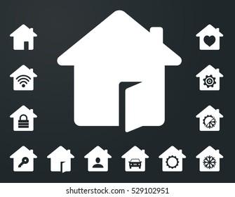 Set of white smarthome icons on dark background