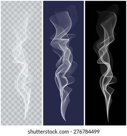 Set of white smoke on transparent, blue and black background. Set of smoke brushes. Smoke pattern. Vector