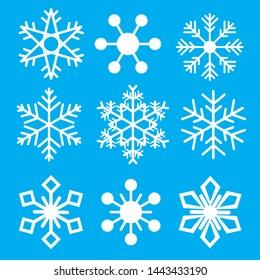 Set white snowflake vector background