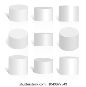 Set of white stand cylinders or podiums. 3d round pedestal vector illustration