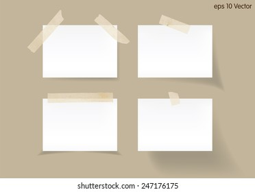 Set of white stick note isolated on brown background, vector