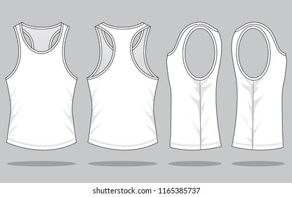 Set White Tank Top Vector