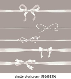 set of white thin bows and horizontal ribbons on white. hand drawn vector illustration. collection of decorative elements for celebration greetings, invitations