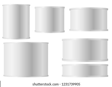 Set of white tins can with plastic cap for baby powder milk, instant coffee, cereal etc. White Blank Tincan Metal Tin Can, Canned Food. Vector.