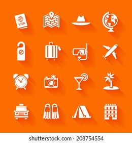 Set of white travel icons. Vector travel icons in flat simple style.