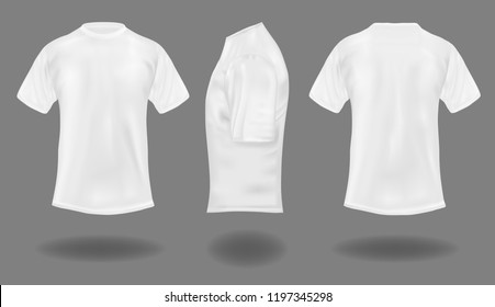 Set of white t-shirts on gray background.  Front, back and side views. Vector illustration.