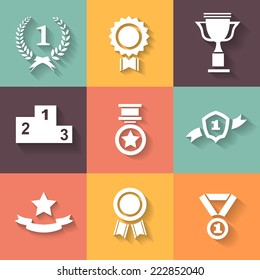 Set of white vector award  success and victory icons with trophies  stars  cups  ribbons  rosettes  medals medallions  wreath