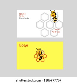 Set of white vector business cards with yellow honeycomb, honey drops and bees.