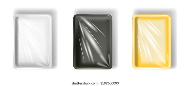 Set of white, yellow, black polystyrene packaging, with transparent film. Isolated on white background. Vector.