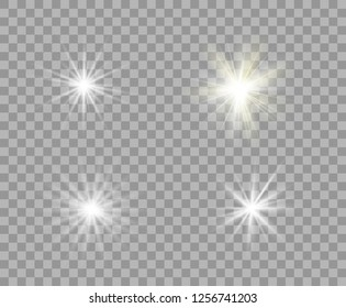 Set white and yellow luminous transparent light. Vector Christmas stars, a bright flash of light. Glitter element on isolated transparent background. With the possibility of overlay.