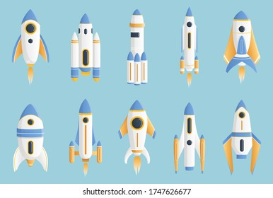 A set of white and yellow rockets. Vector illustration. Isolated.