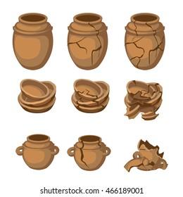 Set of whole and cracked ancient pottery. Vector illustration.